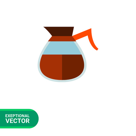 coffeepot: Icon of glass coffeepot of Americano coffee with red handle Illustration