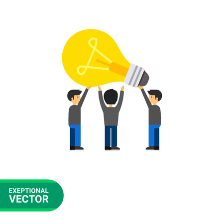 in common: Common idea icon. Multicolored vector illustration of people having common idea