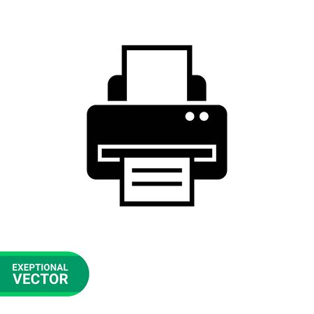 computer printer: Vector icon of computer printer with paper sheet