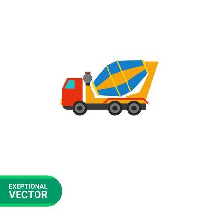 concrete mixer truck: Multicolored vector icon of concrete mixer truck