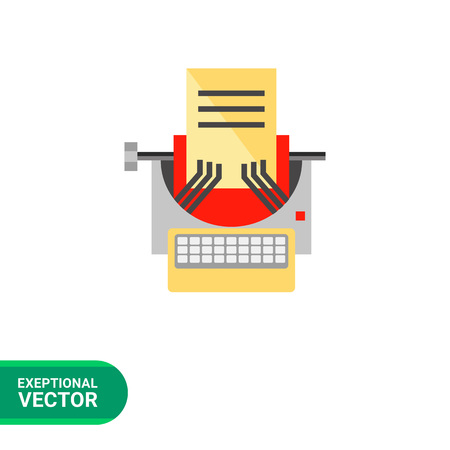 type writer: Copywriting icon. Multicolored vector illustration of manual type writer