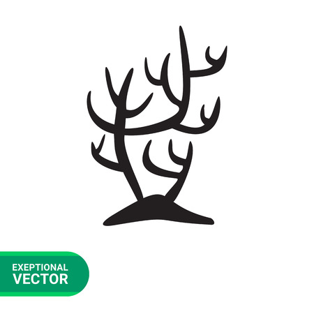 polyp: Coral simple icon. Black vector minimalistic illustration of branch coral silhouette