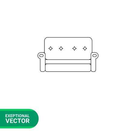 armrests: Monochrome vector icon of couch with decorated back and armrests