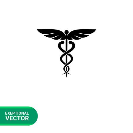 カドゥケウス シンプルなアイコン。医学の象徴のベクトル イラスト