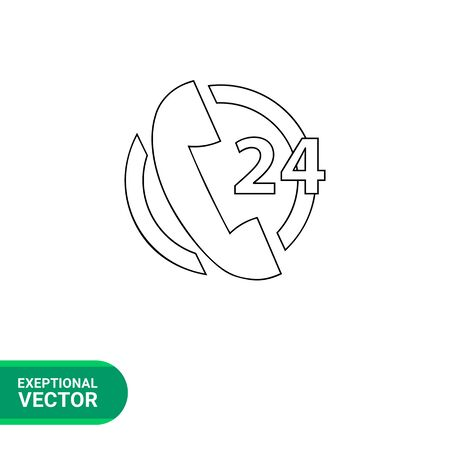 telephone receiver: Vector line icon of telephone receiver and twenty four number in circle representing call center service