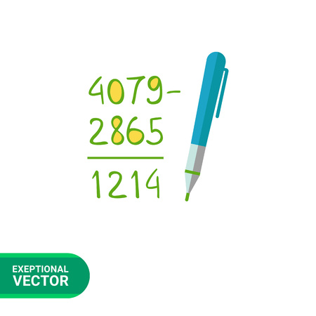 subtraction: Icon of calculation process with written figures and pen