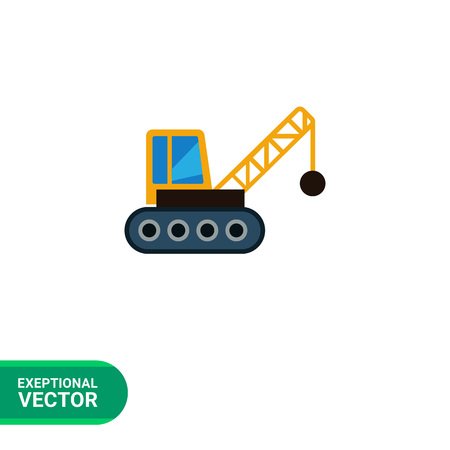 demolishing: Multicolored vector icon of crane with wrecking ball