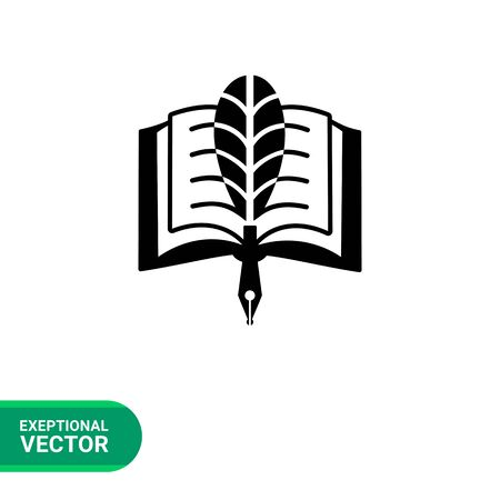 calling art: Monochrome vector icon of open book and pen with original feather representing creative teaching Illustration
