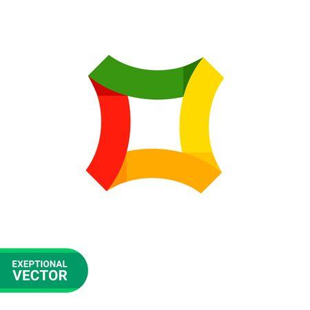 square shape: Multicolored vector icon of square shape for creative logo design