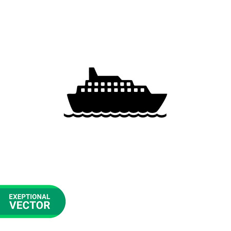 spend the summer: Monochrome vector icon of big cruise liner floating on sea surface Illustration