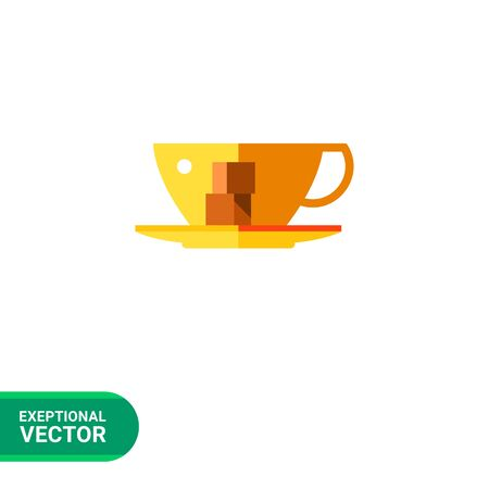 obody: Multicolored vector icon of cup with two pieces of sugar on saucer