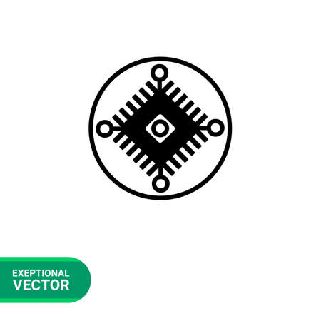 cybernetics: Monochrome vector icon of electric scheme in circle representing cybernetics