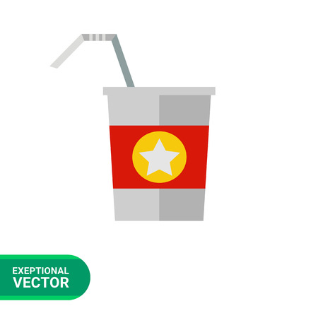 conveniently: Multicolored vector icon of straw and disposable cup with red strip and star