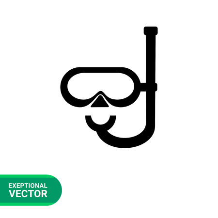 spend the summer: Monochrome vector icon of diving mask with snorkel