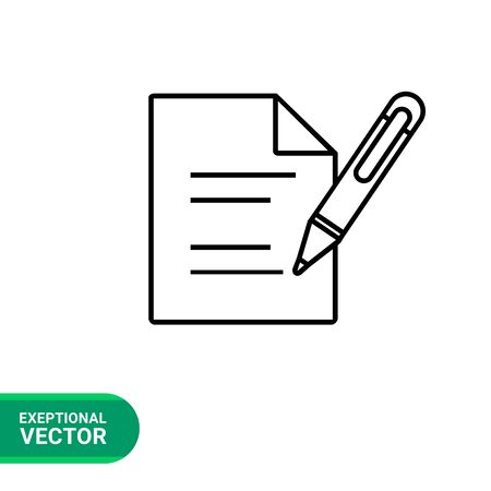 pen icon: Document with pen line icon. Vector illustration of sheet of paper with lines and pen