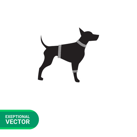 pincher: Dog in sweater simple icon. Black vector illustration of Doberman wearing sweater