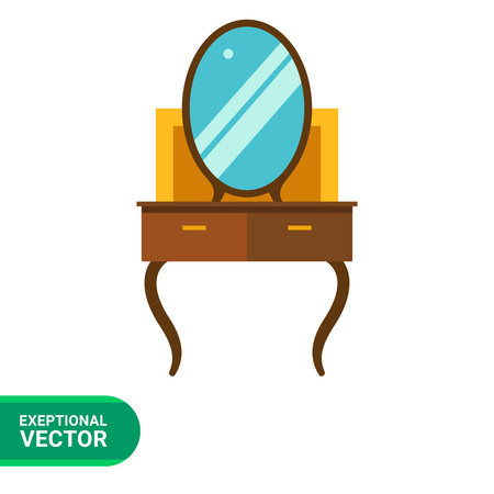 dressing table: Multicolored vector icon of brown dressing table Illustration