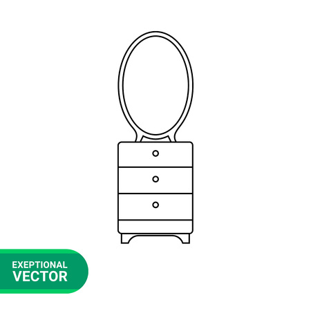 dressing: Monochrome vector icon of dressing table with mirror and three drawers