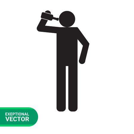 Icono del vector de la celebración de una botella silueta del hombre y beber