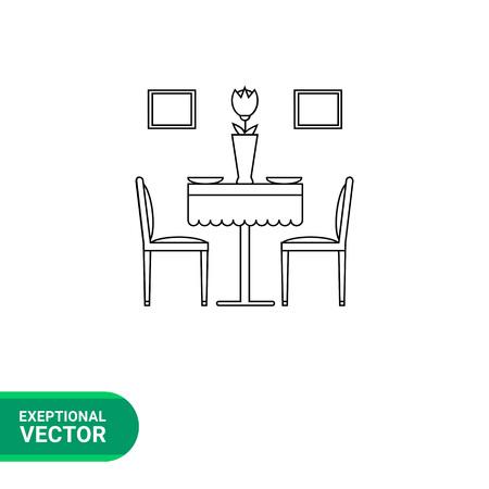 Monochrome vecteur icône de la salle à manger avec table et chaises servi