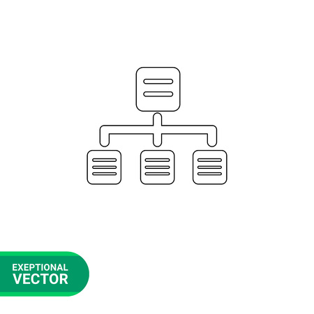 directory: Vector line icon of directory tree, hierarchic structure of files Illustration