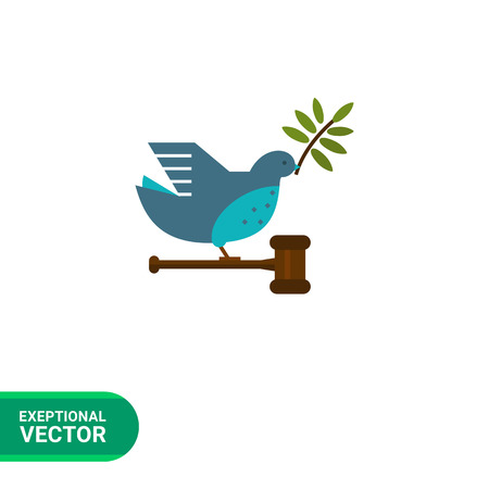 beak: Vector icon of grey dove with olive twig in its beak, carrying gavel