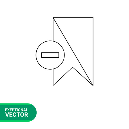 excluding: Vector line icon of bookmark with minus sign in circle leftward representing deleting bookmark Illustration