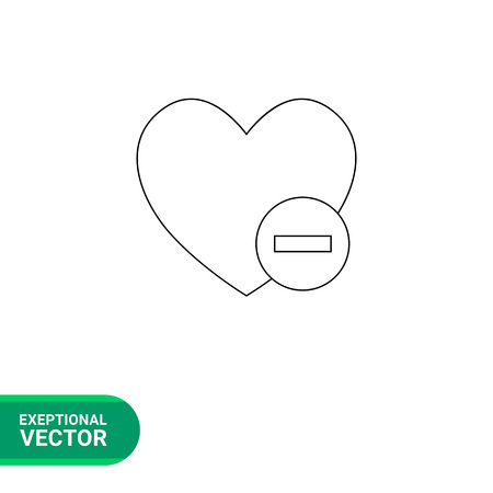 favorites: Vector line icon of heart and minus sign representing deleting of favorites