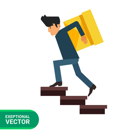 carrying box: Multicolored vector icon of delivery man carrying heavy box upstairs