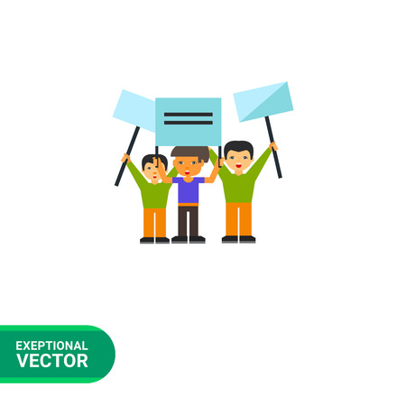 a group of people protesting: Demonstration flat icon. Multicolored vector illustration of group of people demonstrating
