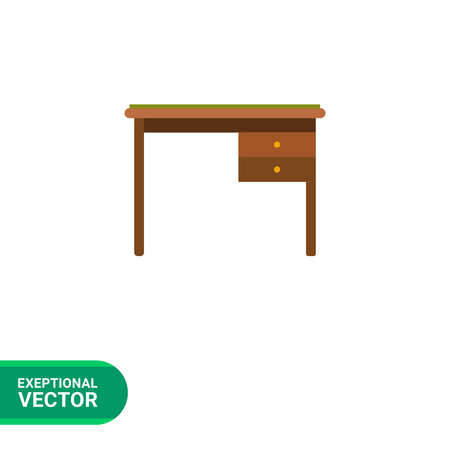 drawers: Multicolored vector icon of desk with two drawers