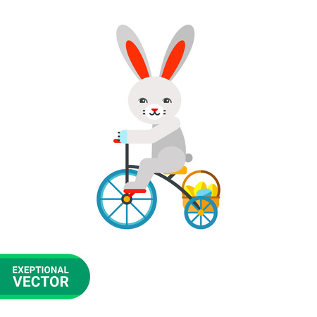 golden eggs: Icon of funny grey Easter bunny on bicycle carrying basket of golden eggs