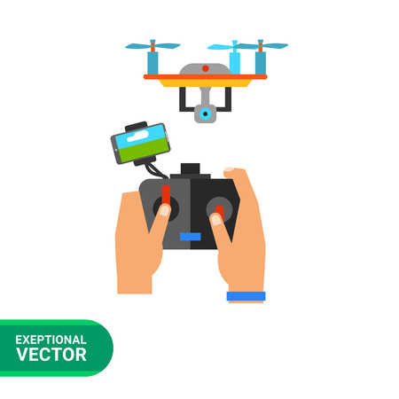 unmanned: Multicolored flat icon of human hands holding remote control and flying drone
