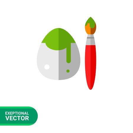 dipped: Icon of white Easter egg painted in green with brush dipped in paint Illustration