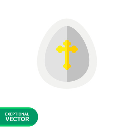 easter cross: Icon of Easter egg decorated with golden cross