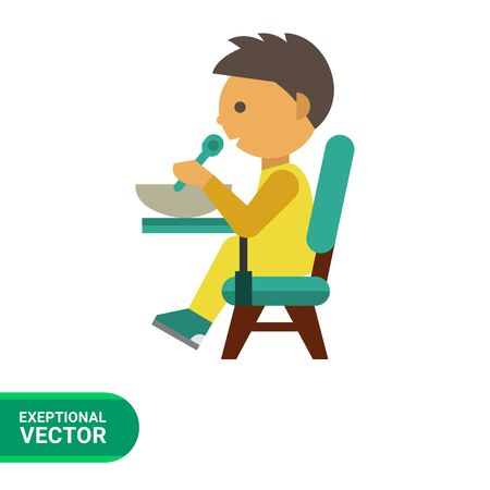puree: Multicolored vector icon of boy sitting at table and eating Illustration