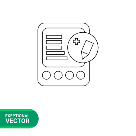 editing: Vector line icon of electronic book with pencil sign in circle representing editing file Illustration