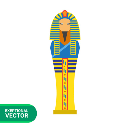 afterlife: Vector icon of golden Egyptian pharaoh sarcophagus