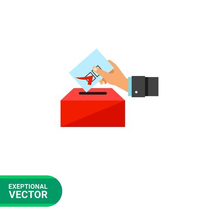 depositing: Election vector icon. Multicolored illustration of hand putting voting paper into ballot box