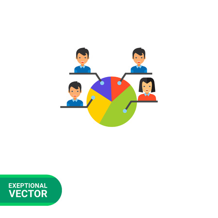 electorate: Electorate vector icon. Multicolored illustration of pie chart with male and female electors