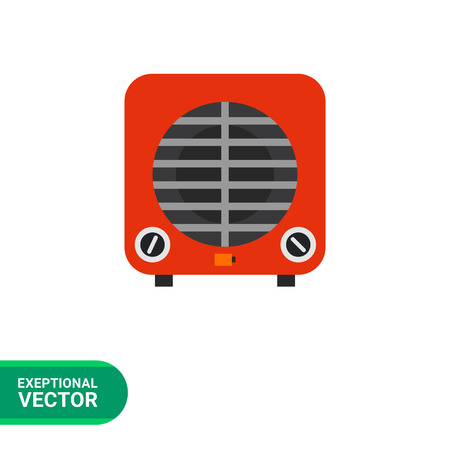 cooler: Multicolored vector icon of red electric cooler