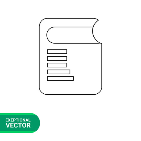 electronic book: Monochrome vector line icon of electronic book