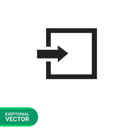 log on: Icon of entrance or log in sign Illustration