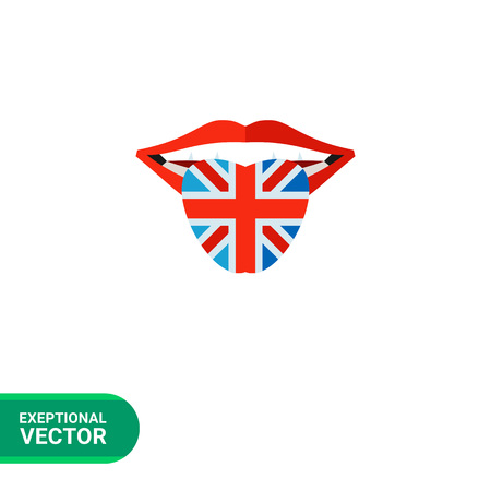 great britain flag: English language icon. Multicolored vector illustration of open mouth with tongue colored in Great Britain flag Illustration