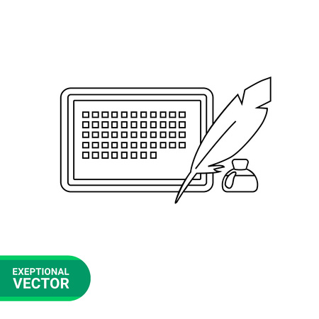 inkwell: Vector icon of electronic book and quill and inkwell behind representing electronic paper concept