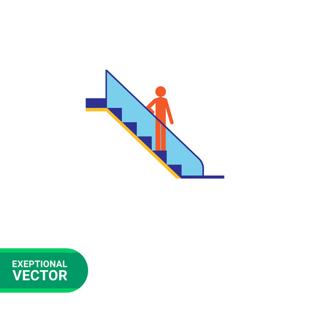 escalating: Icon of mans silhouette standing on escalator