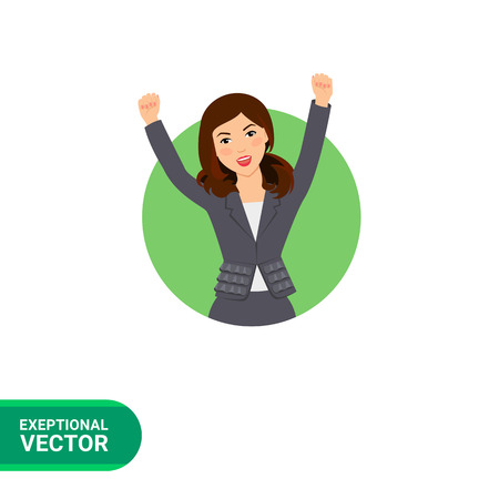 businesswoman suit: Female character, portrait of excited successful businesswoman wearing suit