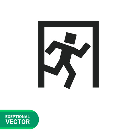 doorway: Icon of exit sign with man figure running to doorway