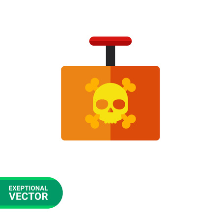 crossbone: Multicolored vector icon of explosive detonator with danger sign