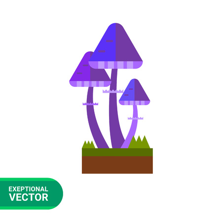 uneatable: Multicolored vector icon of bright violet fairy mushrooms